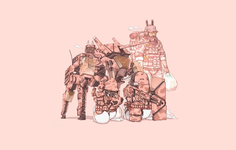 Photo wallpaper Gun, Art, Machine, Stealth, Tank, Ninja, Weapon, Minimalism, Cyborg, Soldier, Characters, Armor, Camouflage, Bunny, Rabbits, …