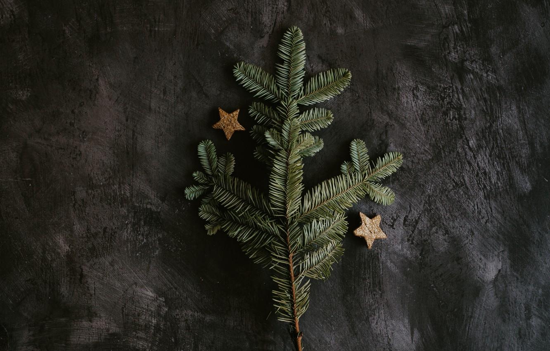 "Photo wallpaper holidays, Christmas, stars, tree, decoration, branch, 4k ultra hd background, ""New Year"""