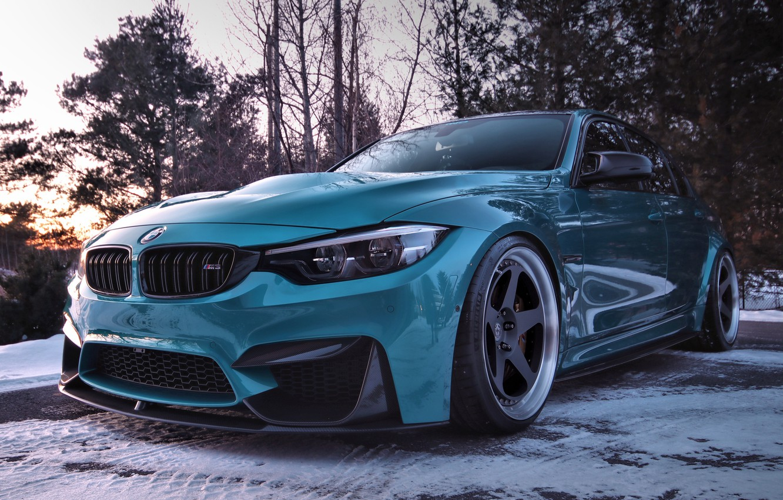Photo wallpaper winter, snow, BMW, turquoise