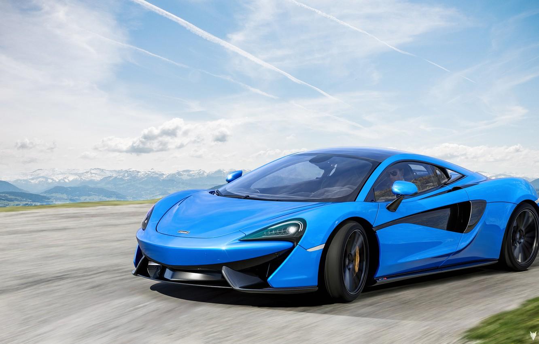 Photo wallpaper McLaren, Blue, Machine, Car, Render, Supercar, Rendering, Sports car, Blue color, 570S, McLaren 570S, Transport …