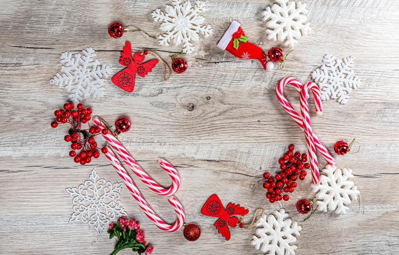 Photo wallpaper balls, snowflakes, berries, Christmas, New year, lollipops