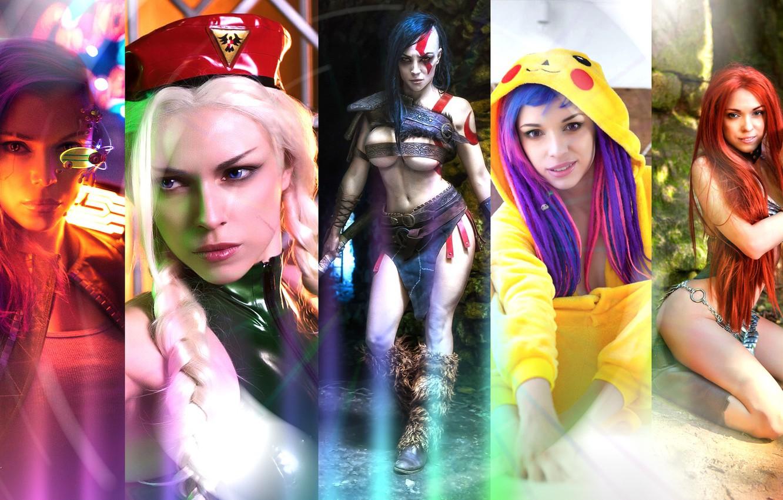 Photo wallpaper wallpaper, red, girl, fantasy, sexy, god of war, yellow, model, 1920x1080, cosplay, street fighter, purple, …