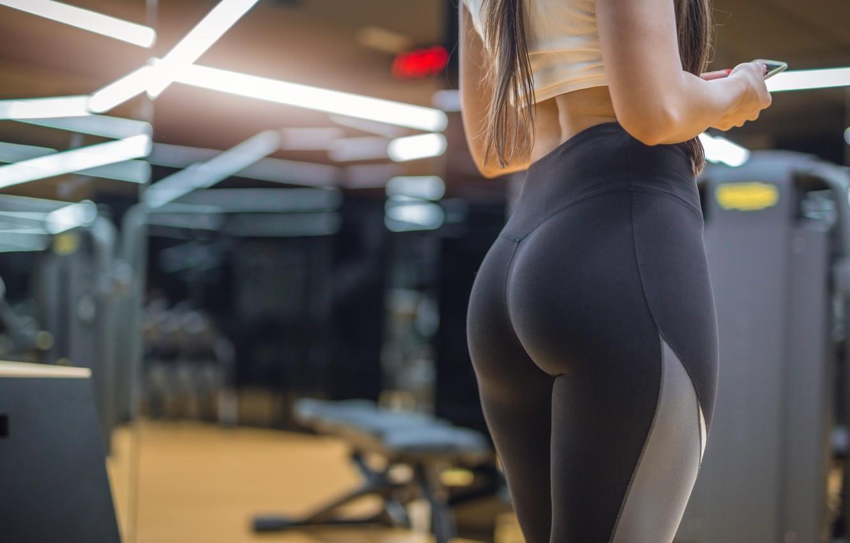 Photo wallpaper girl, sport, figure, sport, sports, hall, the gym, leggings, gym