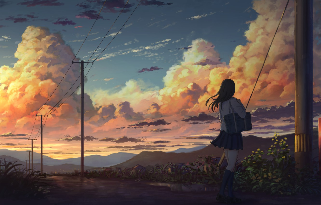Photo wallpaper Clouds, Girl, The evening