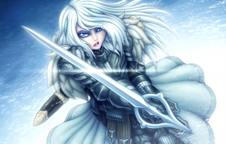 Photo wallpaper winter, look, girl, sword