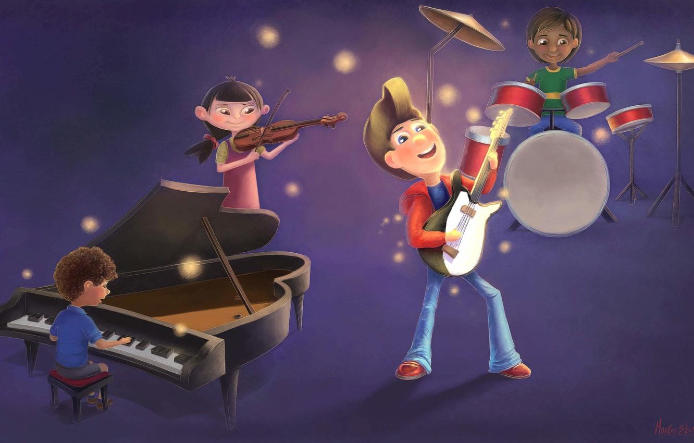 Photo wallpaper children, music, figure, group, art, concert, Art, Children illustration/concept, Marcos Ebrahim