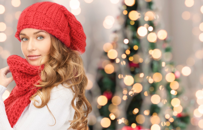 Photo wallpaper look, girl, hat, hair, tree, scarf, New year, bokeh