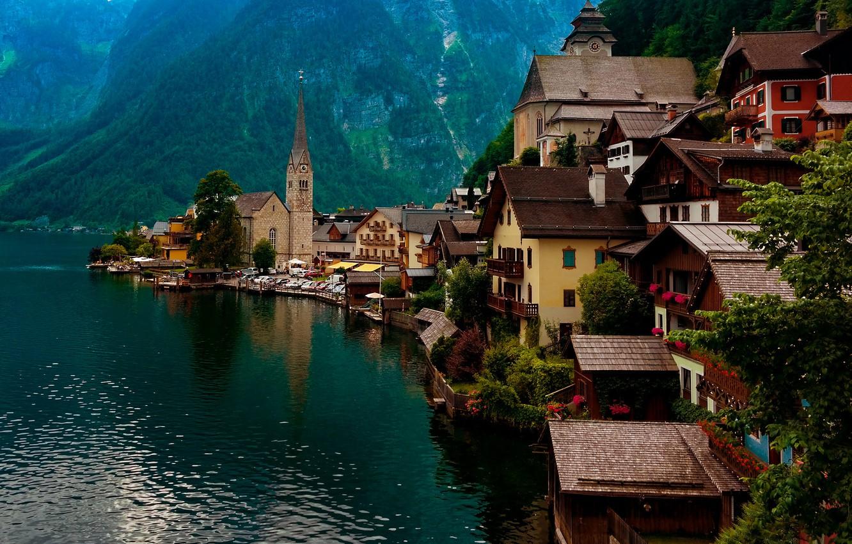 Photo wallpaper landscape, mountains, nature, lake, home, Austria, Hallstatt, Hallstatt, Hallstatt, community
