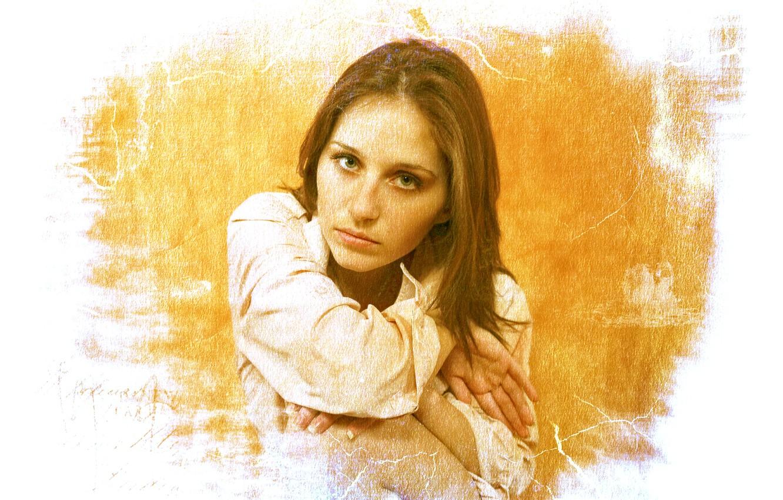 Photo wallpaper colors, girl, beautiful, face, glance, canvas, Kide Fotoart