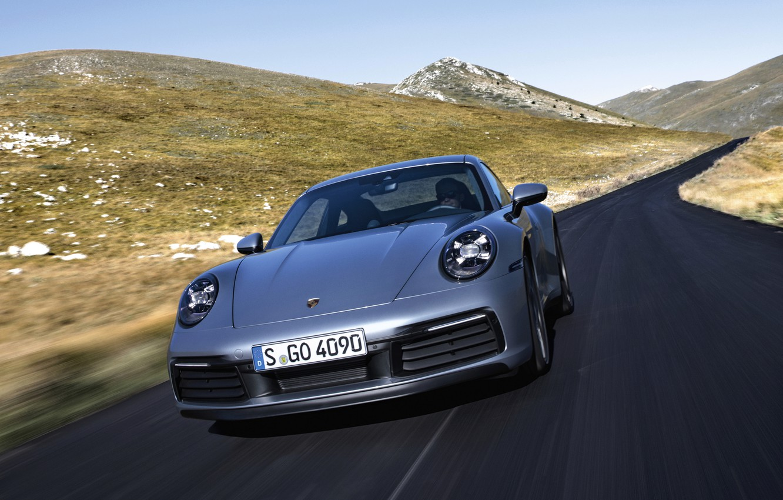 Photo wallpaper road, mountains, coupe, speed, 911, Porsche, Carrera 4S, 992, 2019