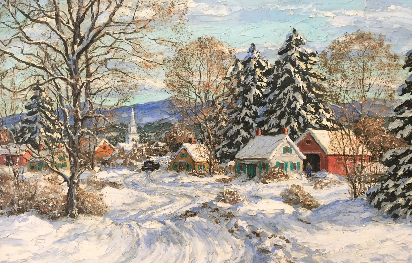 Photo wallpaper American painter, American artist, oil on board, Outside the city, Just Out of Town, Marian …