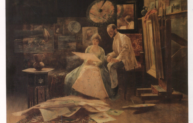 Photo wallpaper The Studio Oil Painting, Hungarian painting, Bertalan Karlovszky