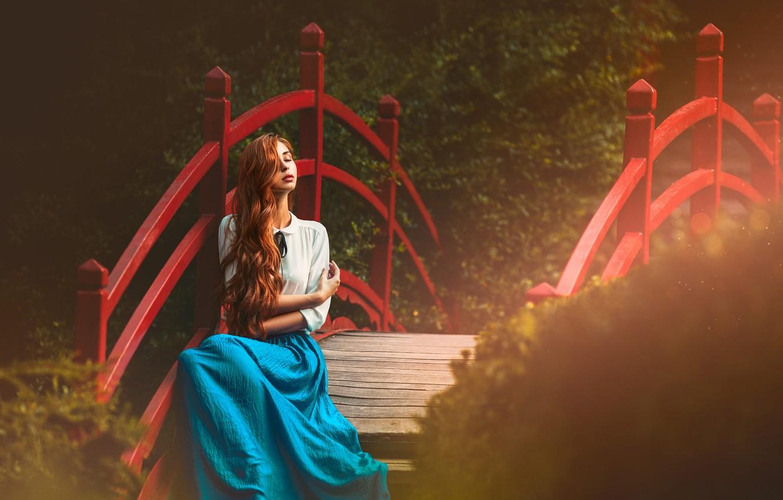 Photo wallpaper girl, light, bridge, hair, red
