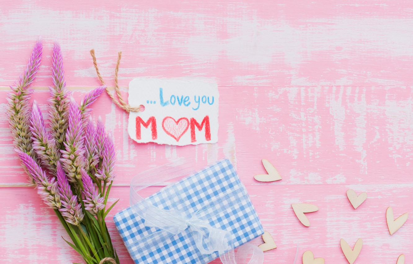 Photo wallpaper love, flowers, gift, heart, love, wood, pink, flowers, hearts, gift, mother's Day