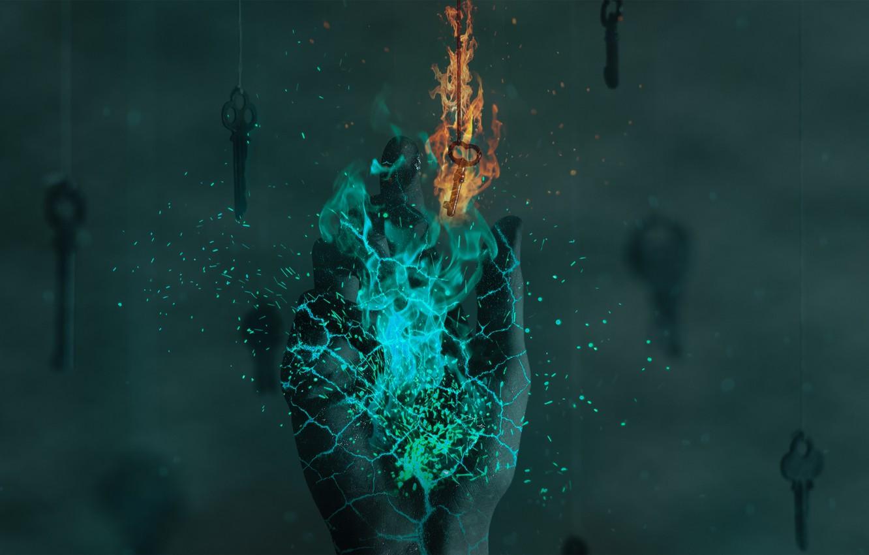 Photo wallpaper fire, photoshop, hand, key