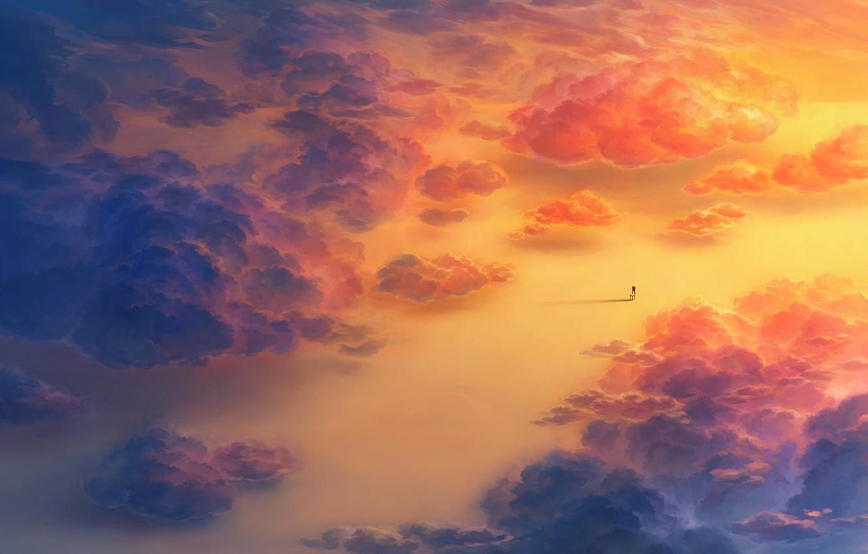 Photo wallpaper Clouds, Chair, Art, heriki (trkj)