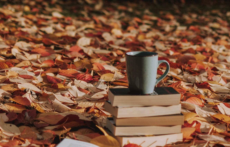 Photo wallpaper autumn, leaves, books, mug, fallen leaves