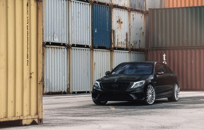 Photo wallpaper Mercedes, Black, S550, Luxury, W222, Sight