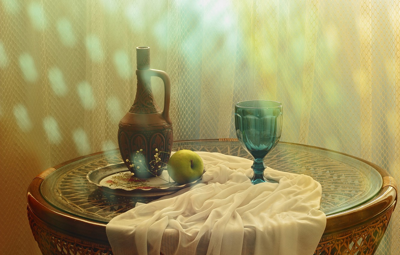 Photo wallpaper light, table, glass, bottle, Apple, pitcher, still life, items, glass, tray, composition, decanter