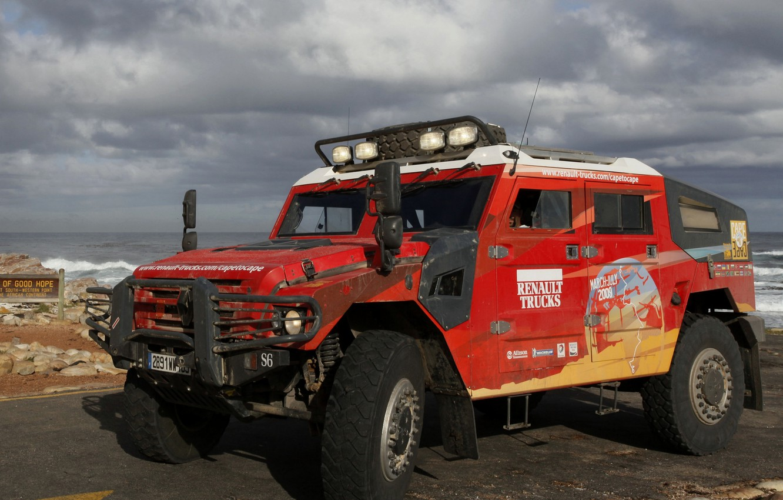Photo wallpaper red, shore, SUV, Renault, Sherpa, Renault Trucks