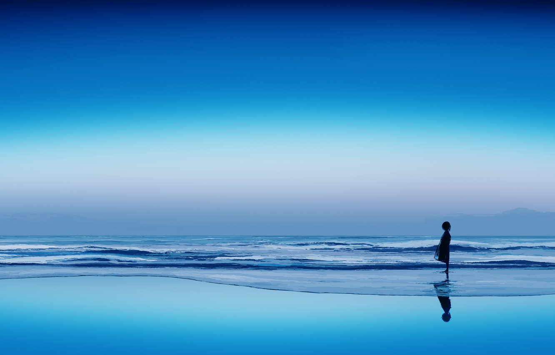 Photo wallpaper ice, the sky, water, girl, postapokalipsis, by Gracile