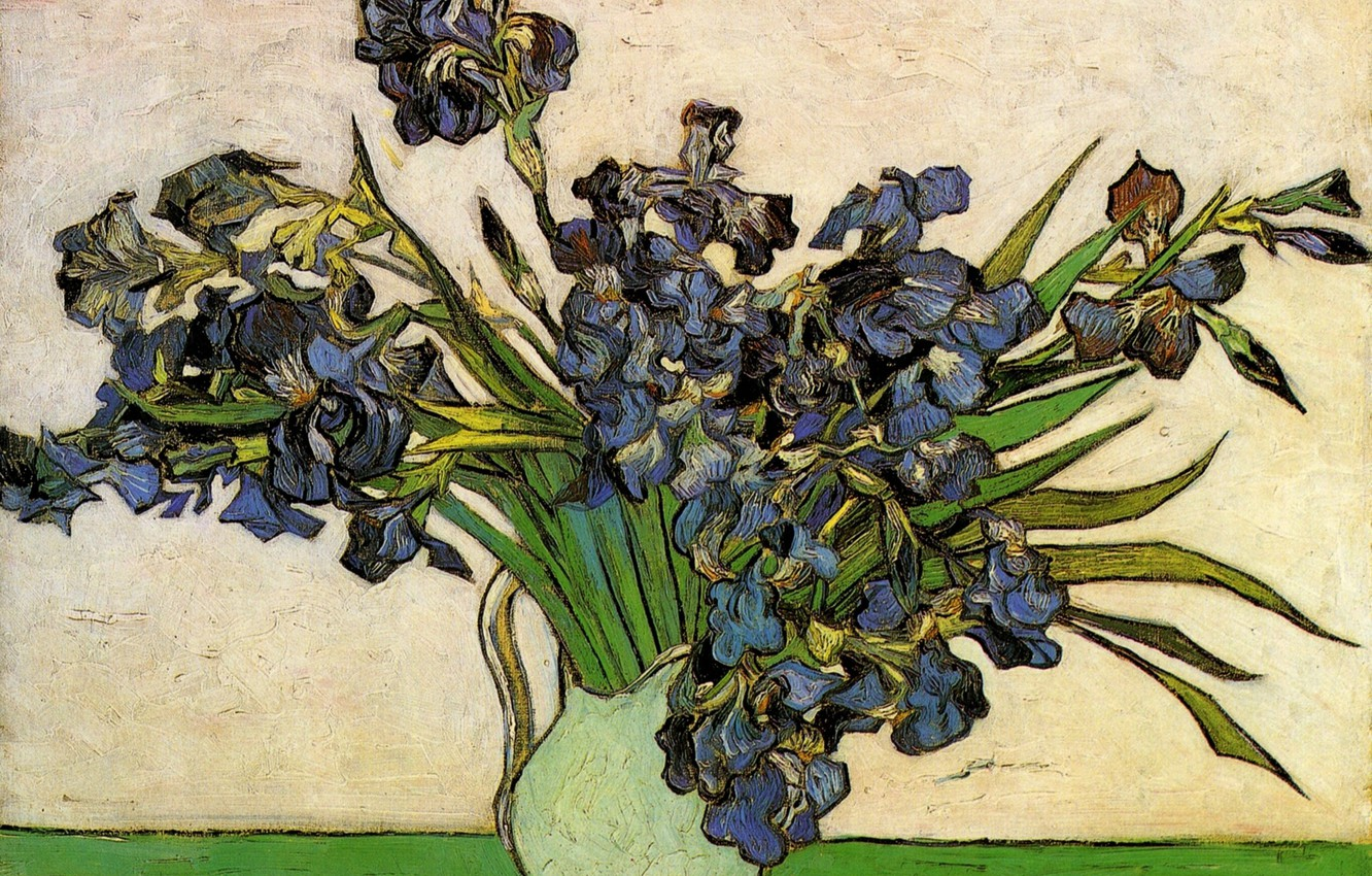 Photo wallpaper flowers, vase, Still Life, Vincent van Gogh, Vase with Irises