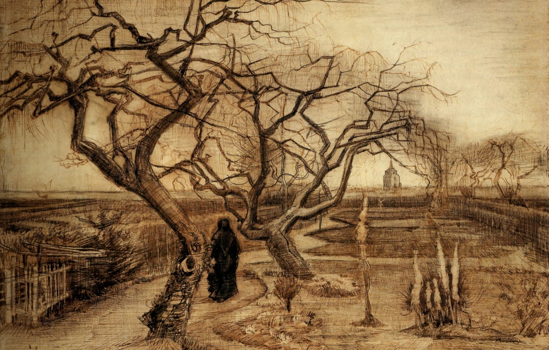 Photo wallpaper trees, Vincent van Gogh, the woman in the black robe, Winter Garden