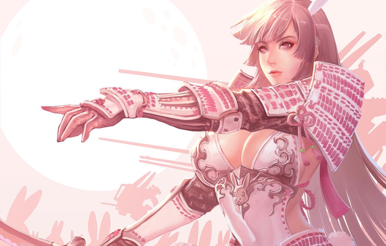 Photo wallpaper Girl, Moon, Fantasy, Sexy, Art, Face, Characters, Armor, Rabbits, Ren Wei Pan, Bunny Shogun