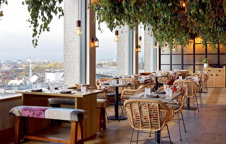 Photo wallpaper view, restaurant, interieur