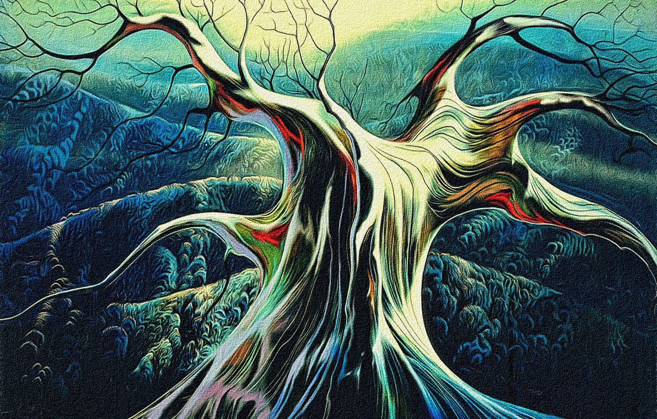 Photo wallpaper autumn, abstraction, rendering, tree, hills, canvas, acrylic, a reproduction of the work of Eivind Earle …