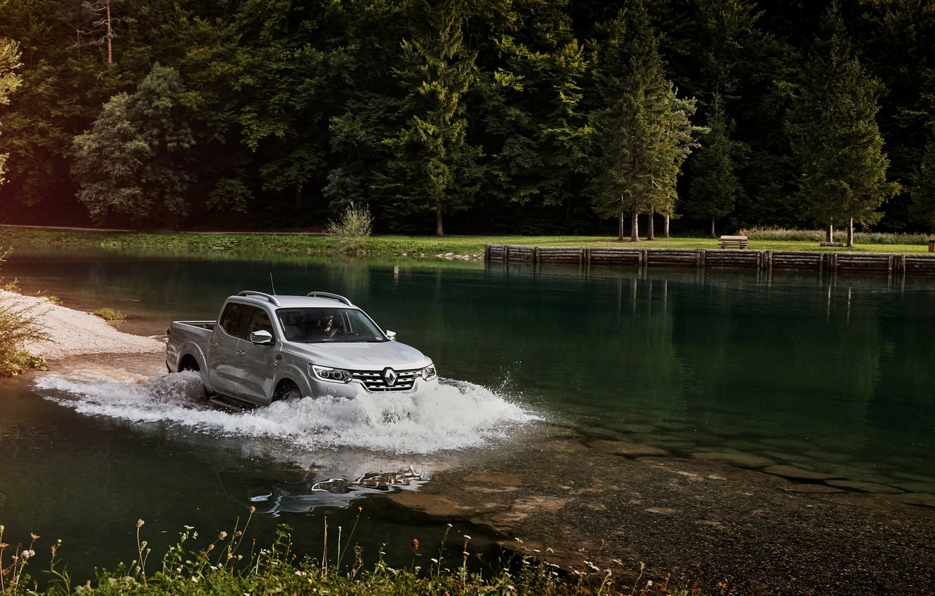 Photo wallpaper wave, Renault, pickup, pond, 4x4, Ford, 2017, Alaskan, gray-silver