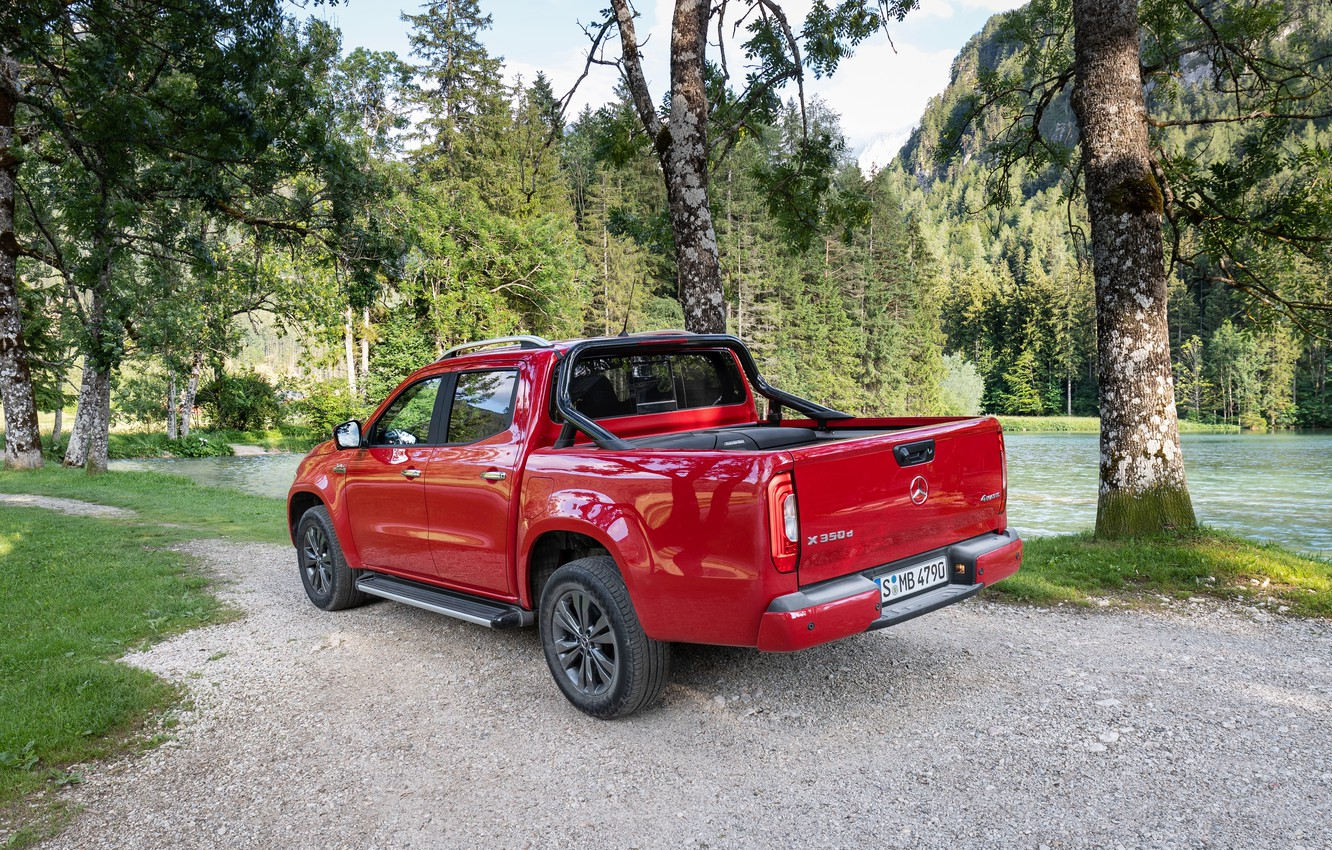 Photo wallpaper red, Mercedes-Benz, pickup, 2018, the pond, X-Class