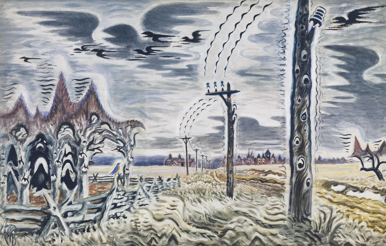 Photo wallpaper Charles Ephraim Burchfield, 1917-52, Song of the Telegraph
