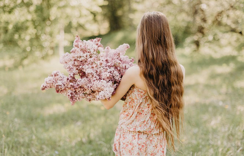 Photo wallpaper girl, nature, hair, back, spring, lilac, bokeh