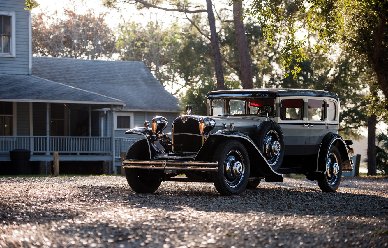 Photo wallpaper car, house, trees, black car, classic car, Oldtimer, Ruxton Model C