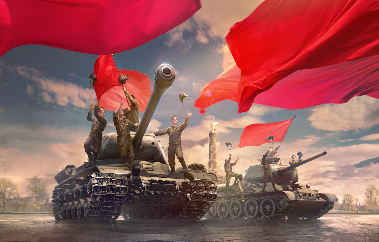 Photo wallpaper figure, area, art, glee, red, tanks, banners, World of Tanks, tankers, Soviet, WOT