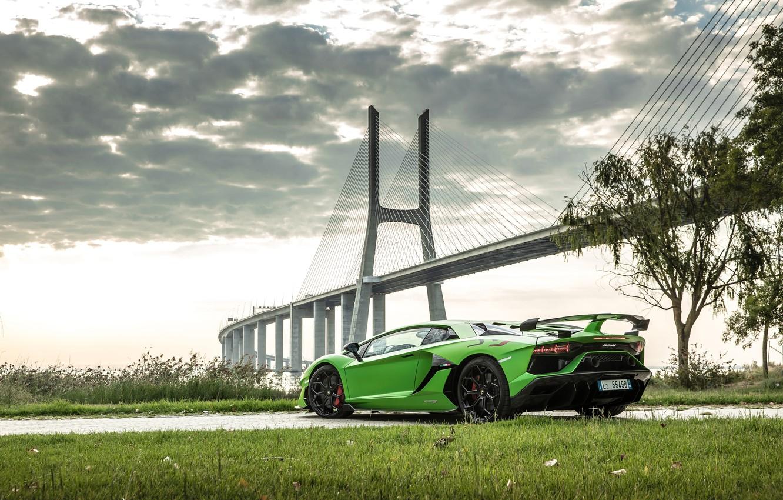 Photo wallpaper bridge, Lamborghini, supercar, rear view, 2018, Aventador, Lisbon, SVJ, Aventador SVJ