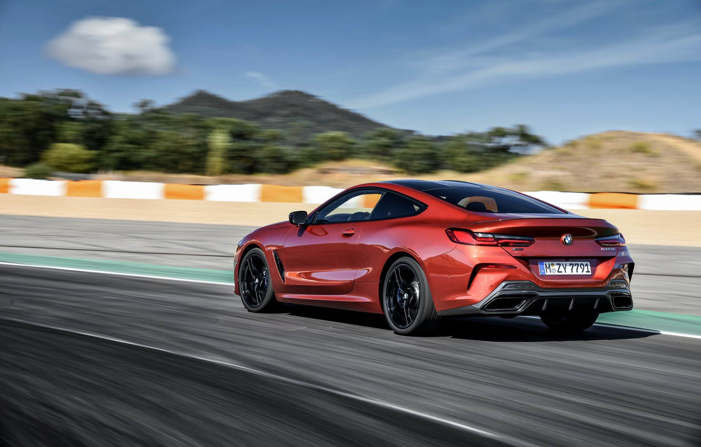 Photo wallpaper coupe, speed, BMW, Coupe, check, 2018, 8-Series, dark orange, M850i xDrive, Eight, G15
