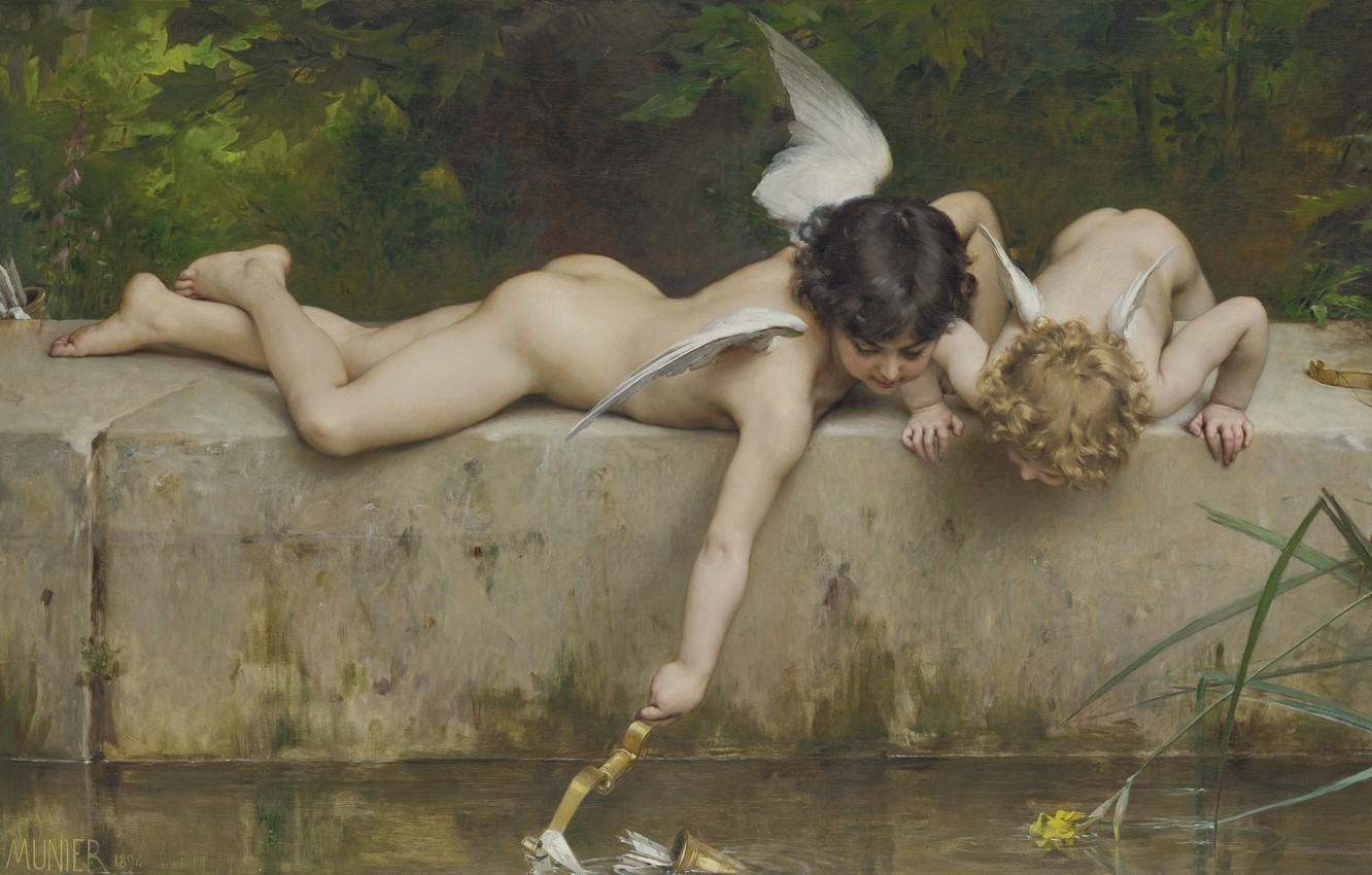 Photo wallpaper Salvation, French painter, Emile Munier, 1894, French painter, oil on canvas, Emil Munie, A rescue, …