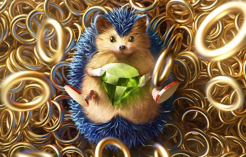 Photo wallpaper The game, Sonic, Art, Art, Ring, Rings, Digital Art, Diamond, Sonic, Fan Art, Characters, Sonic …