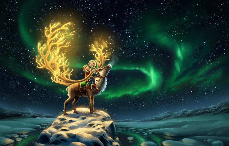 Photo wallpaper The sky, Night, Stars, Snow, Children, Deer, Aurora, Fantasy, Sisters, Aurora, North, Animal, North, Reindeer, …