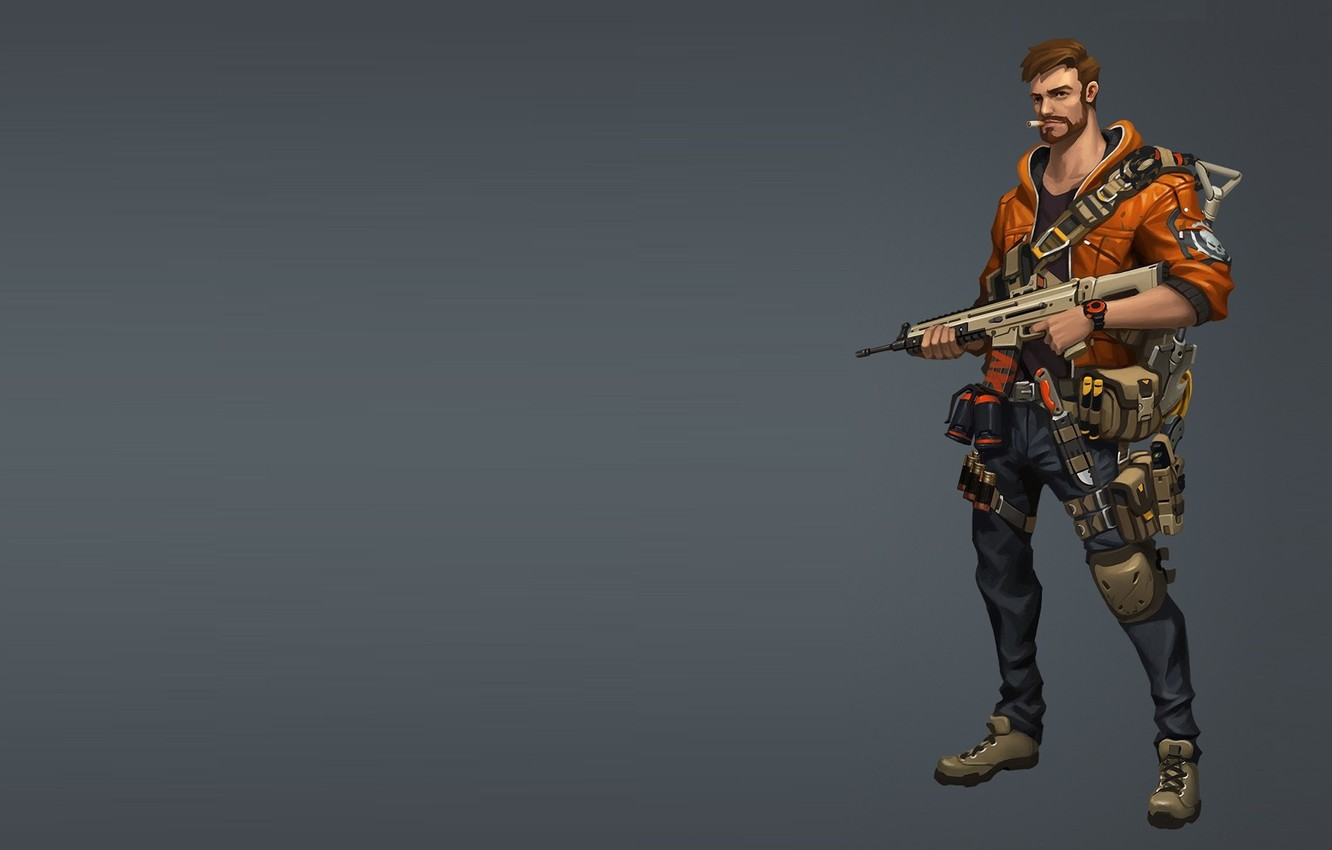 Photo wallpaper weapons, warrior, art, male, Survivor, Mr. Y