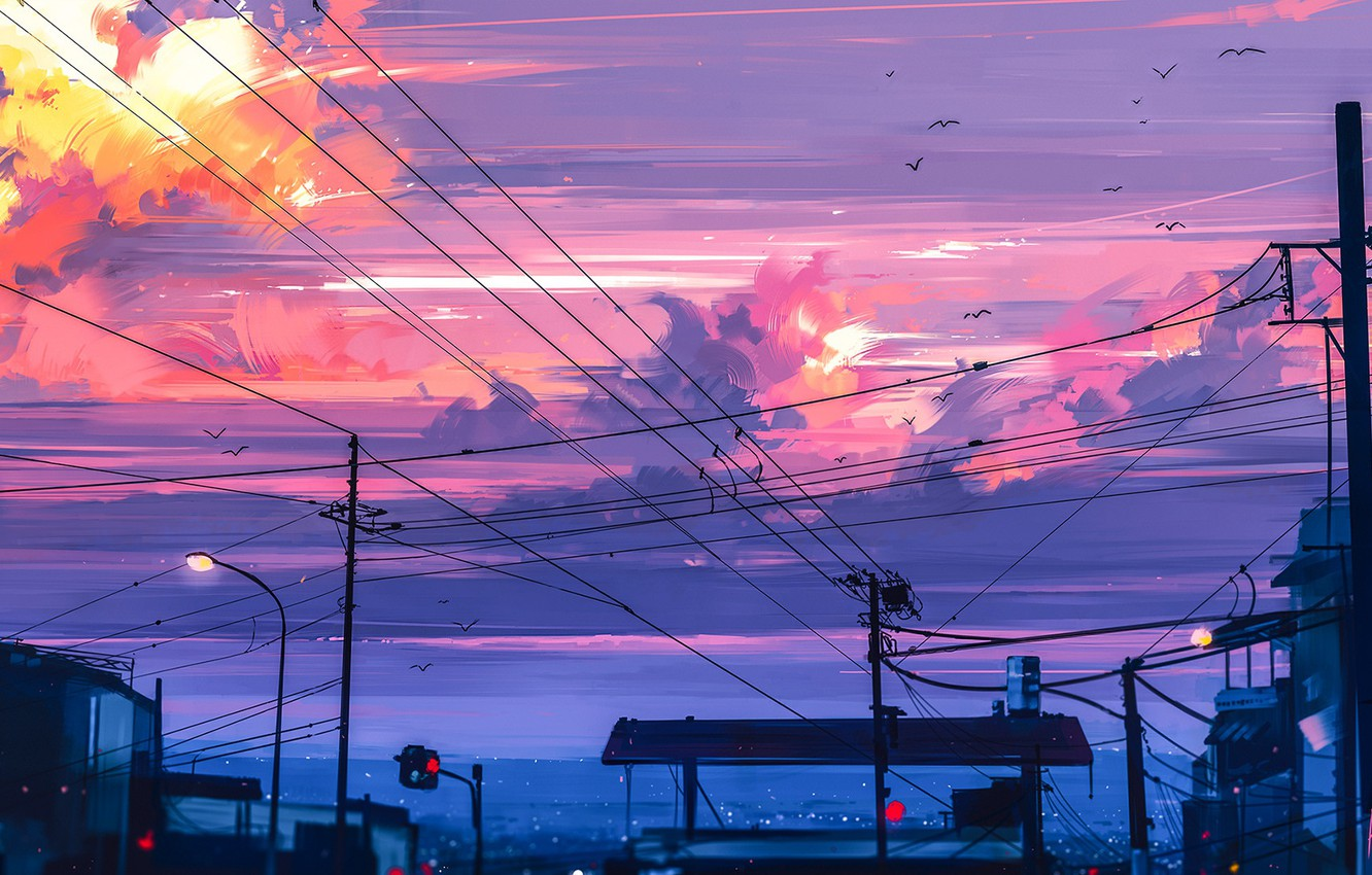 Photo wallpaper birds, posts, wire, the evening, traffic light, twilight, art, stop, the urban landscape, pink clouds, …