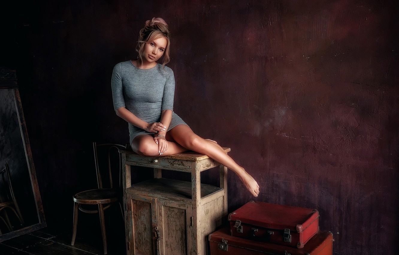 Photo wallpaper look, girl, pose, retro, room, legs, beauty, Moshenko Sergey