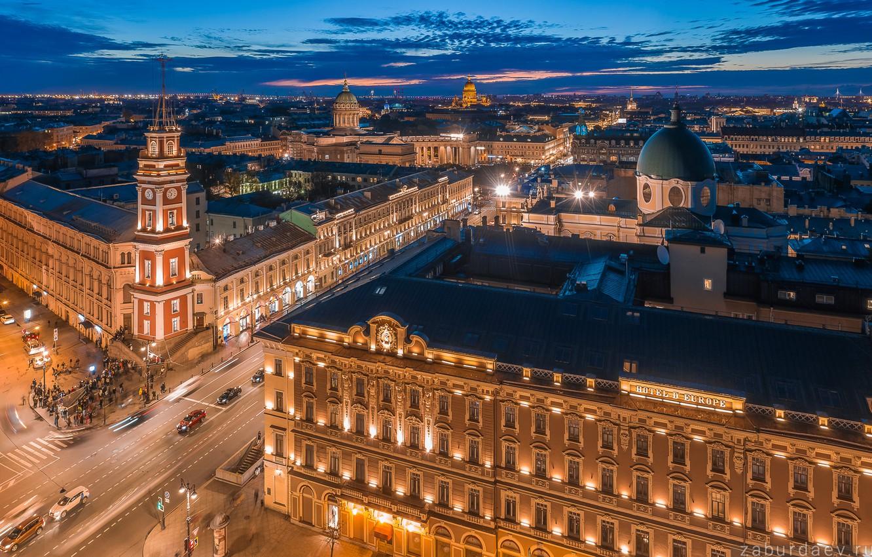 Photo wallpaper building, Saint Petersburg, Russia, architecture, night city, Nevsky Prospekt, Станислав Забурдаев