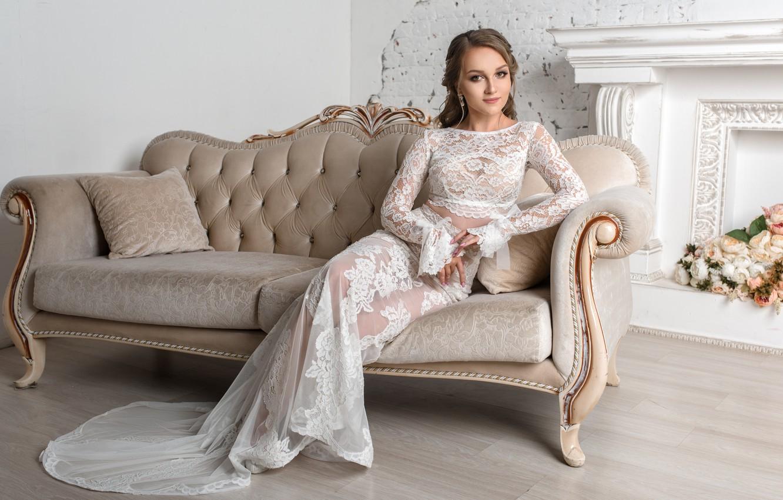 Photo wallpaper girl, flowers, sofa, sweetheart, dress, beauty, fireplace, the bride, Igor Kondakov, Igor Kondukov
