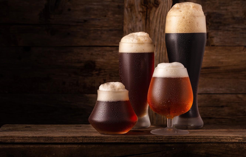 Photo wallpaper foam, beer, glasses