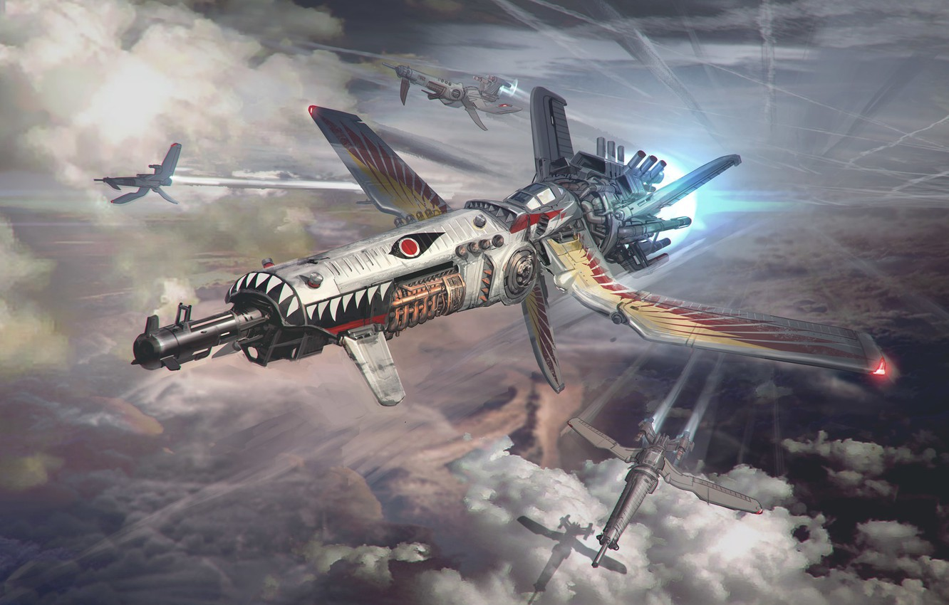 Photo wallpaper the sky, clouds, weapons, camera, BGE 2 - Dog Fighter