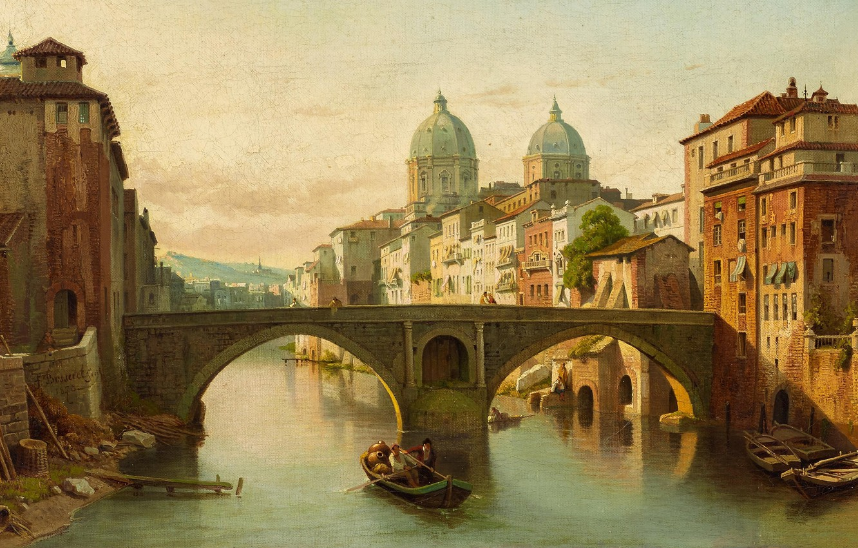 Photo wallpaper 1878, Belgian painter, Belgian painter, oil on canvas, François-Antoine Bossuet, Italian urban landscape, Italian city …