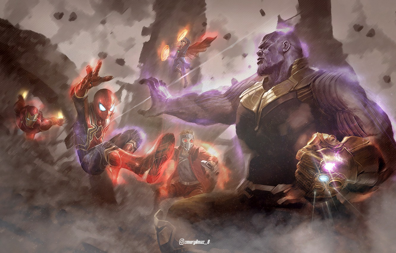 Photo wallpaper fiction, art, characters, Iron Man, comic, the fight, MARVEL, Spider-Man, Star-Lord, Doctor Strange, Thanos, Avengers: …
